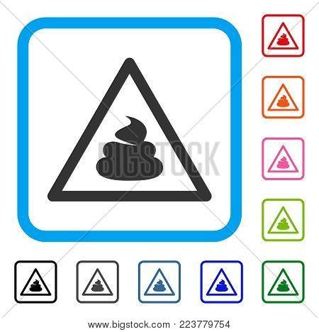 Shit Warning icon. Flat gray iconic symbol inside a blue rounded frame. Black, grey, green, blue, red, orange color variants of shit warning vector. Designed for web and software user interface.