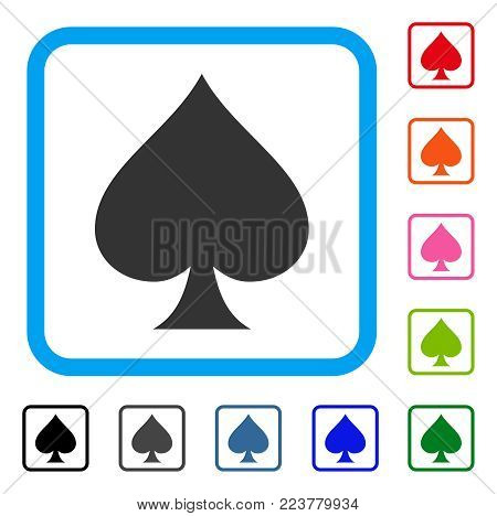 Spades Suit icon. Flat gray iconic symbol inside a blue rounded rectangle. Black, grey, green, blue, red, orange color versions of spades suit vector. Designed for web and application interfaces.
