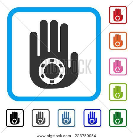Stop Gambling Palm icon. Flat grey pictogram symbol in a blue rounded frame. Black, grey, green, blue, red, orange color versions of stop gambling palm vector.
