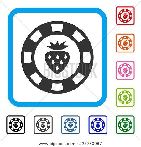 Strawberry Casino Chip icon. Flat gray pictogram symbol inside a blue rounded rectangle. Black, gray, green, blue, red, orange color variants of strawberry casino chip vector.