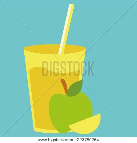 Healthy natural cocktail drink with sweet apple. Fresh organic summer vegetarian smoothie. For restaurant menu, card or design element background.