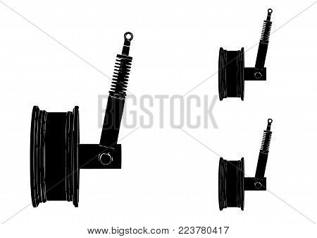 black wheel with shock absorber on white background