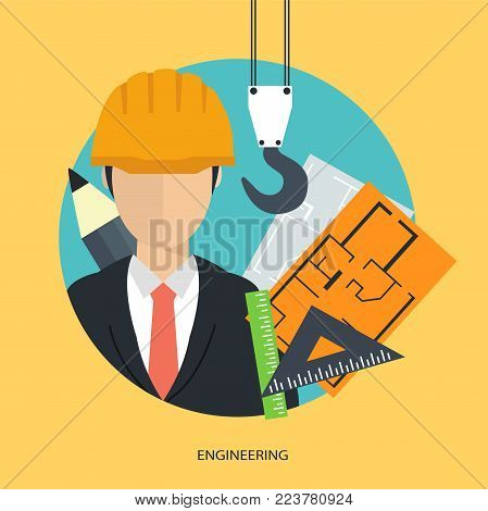 Success engineer work. Engineering technology concept. Flat vector illustration.