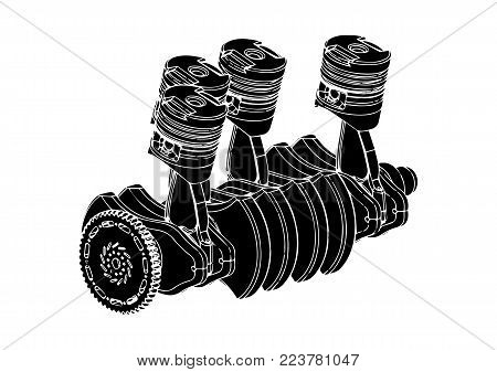 black internal combustion engine on a white background