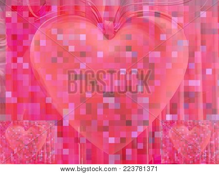 Three pixelated hearts on a pink pixel background which can be used as a background for a romantic holiday link Valentines Day.