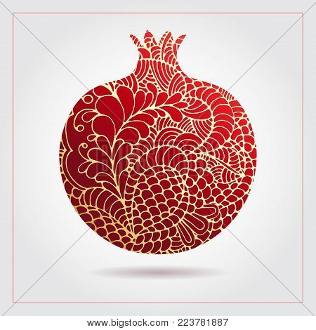 Hand drawn decorative ornamental pomegranate made of swirl doodles for Rosh Hashanah greeting card, Jewish New Year. Rosh hashana, sukkot Jewish Holiday. Vector illustration of fruit logo