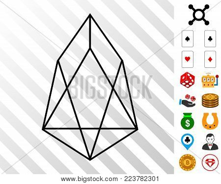 Eos Currency pictograph with bonus gamble clip art. Vector illustration style is flat iconic symbols. Designed for gambling gui.