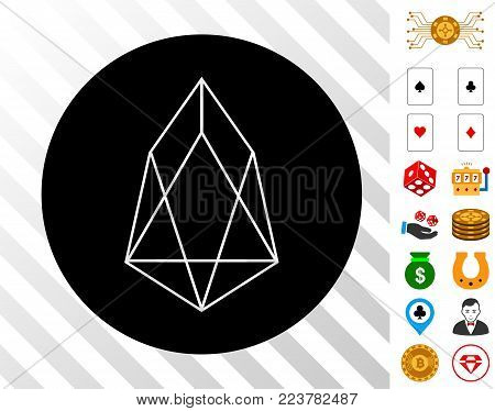 Eos Currency icon with bonus gambling clip art. Vector illustration style is flat iconic symbols. Designed for gambling apps.