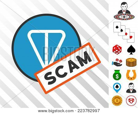 Ton Scam Label pictograph with bonus gamble clip art. Vector illustration style is flat iconic symbols. Designed for gamble apps.