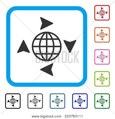 Global Freelance icon. Flat gray pictogram symbol inside a blue rounded square. Black, gray, green, blue, red, pink color variants of global freelance vector.
