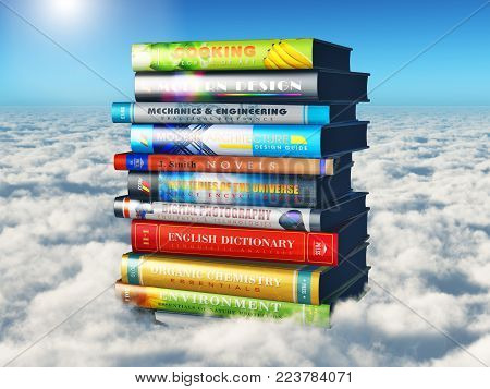 3D render illustration of the stack or pile of color hardcover books in the sky above the clouds