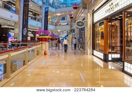 TAIPEI, TAIWAN - NOVEMBER 11: This is 101 mall in the Taipei 101 skyscraper, the mall is well known for its luxury shops on November 11, 2016 in Taipei