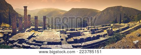 Panoramic view of Apollo's temple in the famous archaeological site of Delphi in Greece which was believed during the antiquity to be