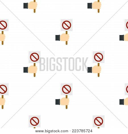 Hand holding stop sign pattern seamless for any design vector illustration