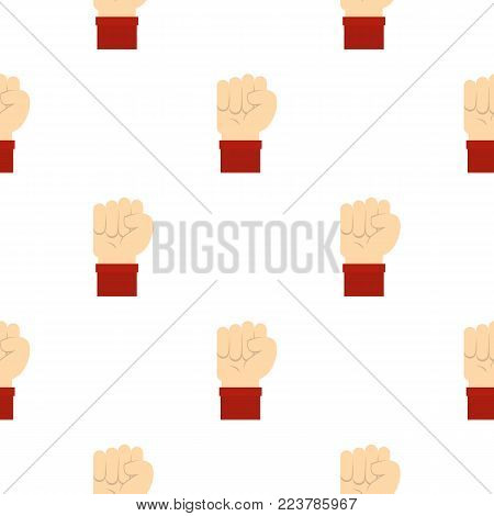 Raised up clenched male fist pattern seamless for any design vector illustration
