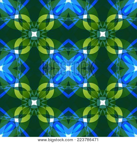 Vivid blue green abstract texture. Textile print pattern. Cute seamless tile. Complex background illustration. Home decor fabric design sample. Tileable motif for pillows, cushions, tablecloth, drapes