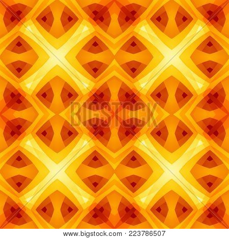 Orange yellow red abstract texture. Bright seamless tile. Home decor fabric design sample. Optimistic and energetic background illustration. Textile print pattern. Motif for cushions, tablecloths