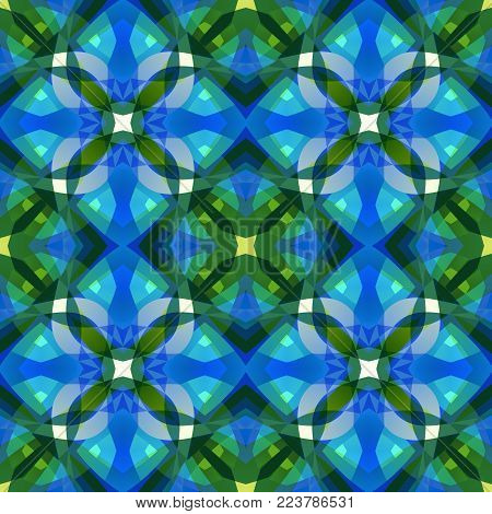 Beautiful blue green abstract texture. Textile print pattern. Complex background illustration. Cute seamless tile. Home decor fabric design sample. Tileable motif for pillows, cushions, tablecloths