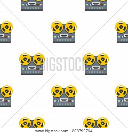 Vintage reel to reel tape recorder deck pattern seamless for any design vector illustration