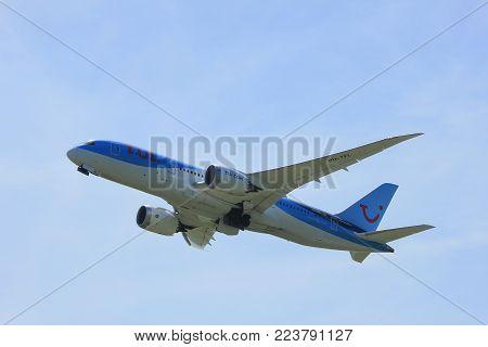 Amsterdam the Netherlands - July, 9th 2017: PH-TFL TUI Airlines Netherlands Boeing 787-8 Dreamliner takeoff from Buitenveldert runway Amsterdam Airport