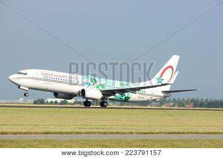 Amsterdam the Netherlands - July 6th, 2017: CN-RGG Royal Air Maroc Boeing 737-800 takeoff from Polderbaan runway, Amsterdam Schiphol Airport