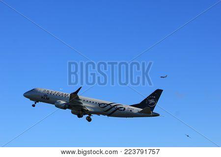 Amsterdam the Netherlands - January 7th 2018: PH-EZX KLM Cityhopper Embraer ERJ-190 takeoff from Polderbaan runway.