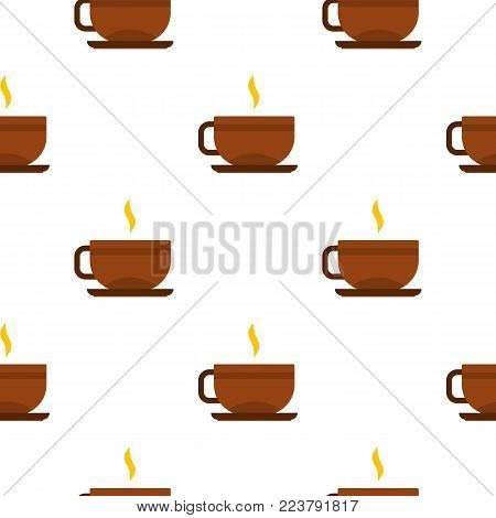 Brown tea cup and saucer pattern seamless for any design vector illustration