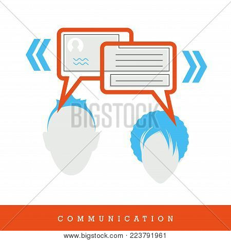 Communication. Chat, People Dialogue - Conversation - Concept Icon, Flat Design and Thin Line Style Vector Illustration. Man and Woman in Dialogue.