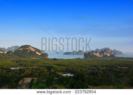 Toh Li viewpoint, Phang nga ,Thailand. Located on Tha tian district ,Phang nga province in south of Thailand. 180 degree panorama view of Toh Li viewpoint we can see Ban Hin Lom ,the way out to Phang nga bay.