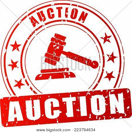 Illustration of auction red stamp on white background