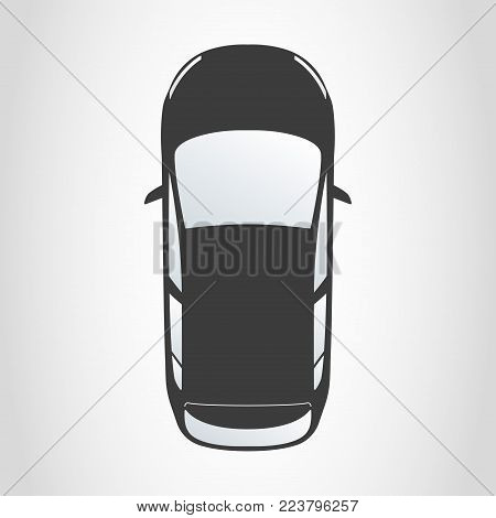 Car icon. Hatchback top view. Vector illustration.