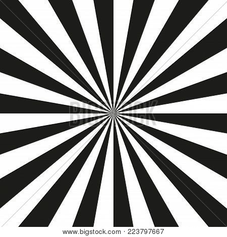 Abstract radial background with background with black and white divergent rays. Vector illustration.