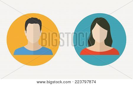 Man and woman avatar profile in flat design. Male and Female face icon. Vector illustration.