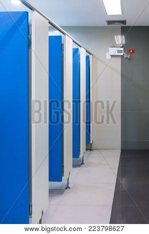 Clean public toilet room empty with blue door. Restroom interior.