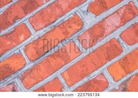 texture of old red brick diagonal, the background for the underlay Internet