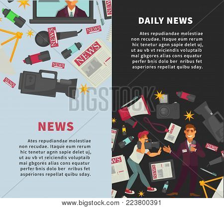 Daily news promotional vertical posters with sample texts set. Photo and video cameras, operator with TV show host, big loudspeaker, open laptop and newspapers cartoon flat vector illustrations.
