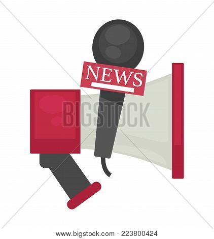Big powerful loudspeaker and professional microphone with news sign for reportage creation. Basic equipment for journalist and reporter isolated cartoon flat vector illustration on white background.