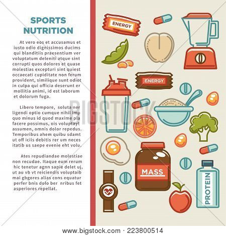 Fitness food poster of sports healthy diet food nutrition poster. Vector flat design of protein drink, natural vegetables or fruits, gym energy bar and mass or weight loss pills and dietary supplements