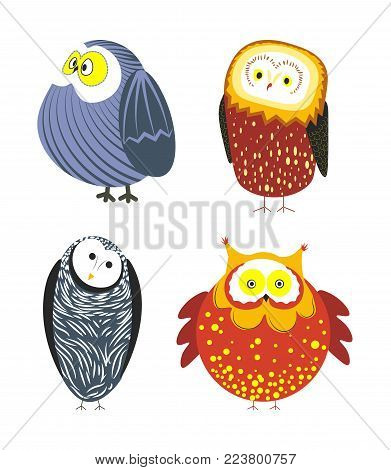 Owls cartoon kid funny characters with feather ornament. Vector isolated flat icons of owl bird in colorful abstract pattern plumage feathering decoration