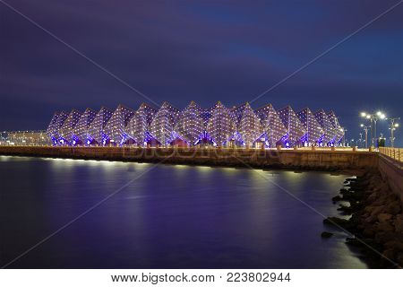 BAKU, AZERBAIJAN - DECEMBER 29, 2017: View of the sports and concert complex