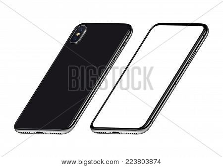 Perspective isometric smartphones like iPhone X mockup front and back side. New modern black frameless smartphones with blank white screen and back side. Isolated on white background. 3D illustration.