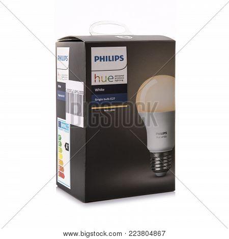 SWINDON, UK - DECEMBER 30, 2017: Philips Hue White E27 Smart Bulb, personal wirless lighting.
