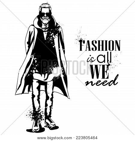 Vector man model dressed in jeans, hoody, shirt, and long coat, splash stile. Fashion is all we need