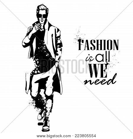 Vector man model dressed in pants, t-shirt and long coat, splash stile. Fashion is all we need