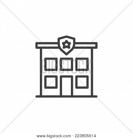 Police station line icon, outline vector sign, linear style pictogram isolated on white. Police department building symbol, logo illustration. Editable stroke