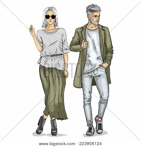 Vector woman and man fashion models, hipster look