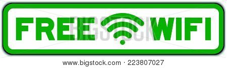 Green free wifi with icon square seal sticker on white background