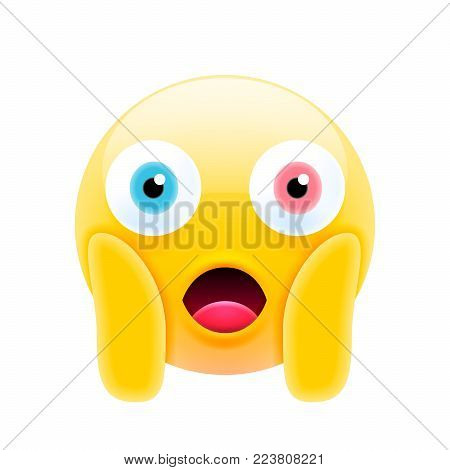 Cute Shocked Emoji with Open Mouth. Modern Emoji Series. Confused Emoticon Face on White Background