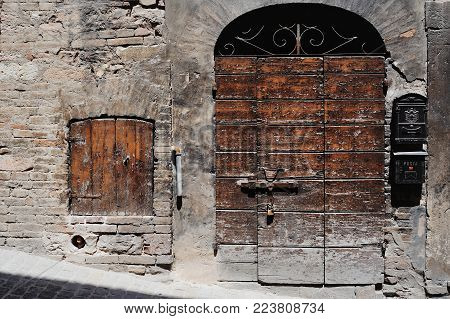 Ancient door in old town of Spello Umbria.Traditional italian medieval beautiful little town in Umbria region - central Italy.