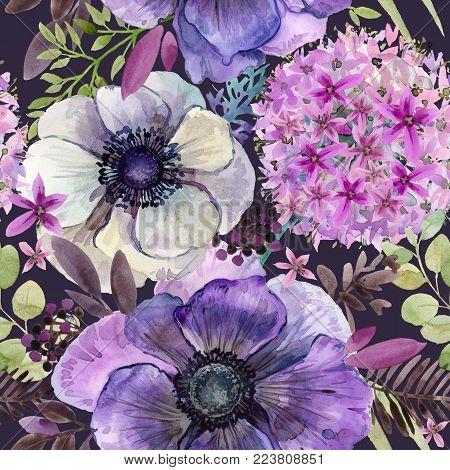 watercolor violet flowers seamless pattern. hand-drawn botanical illustration. vintage floral composition.